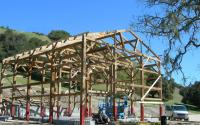The Great Northern Barns crew adapted this frame for local zoning standards in Santa Barbara, California.